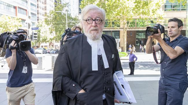 George Pell's lawyer, Robert Richter QC (centre) arrives at the County Court. Picture: AAP