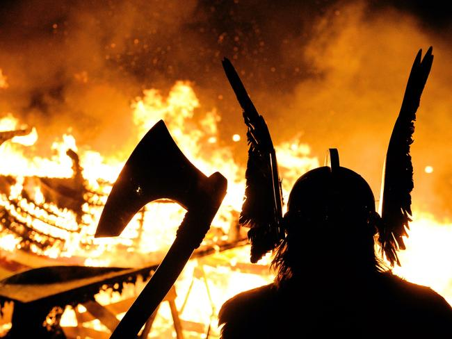 A re-enactment of a Viking funeral in the Shetland Islands. One of the archaeological templates for what a Viking warrior looked like has been revealed to be a woman. Picture: AFP