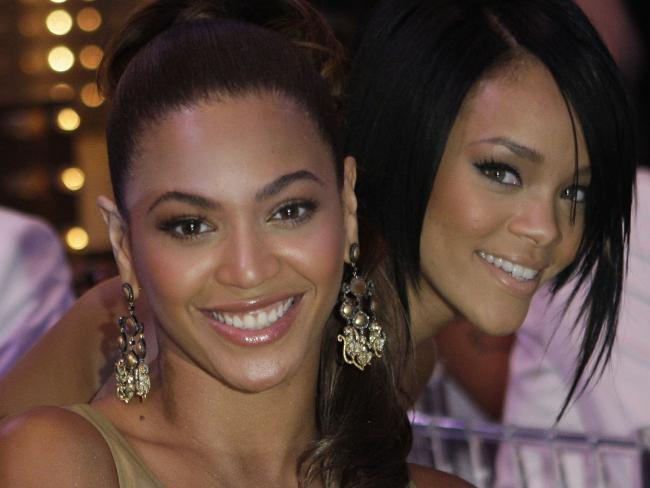 Beyonce Knowles and Rihanna pose during the MTV Video Music Awards at the Palms Hotel and Casino in Las Vegas in September 2007. Source:AP