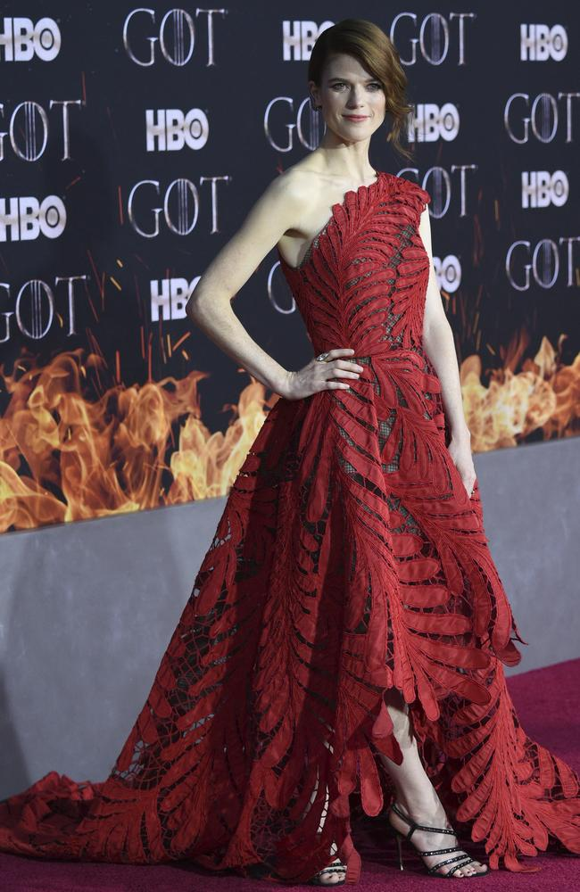 Red hot Rose Leslie. Picture: AP