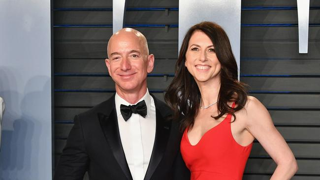 Jeff Bezos and former wife MacKenzie in happier times. Picture: Dia Dipasupil/Getty Images