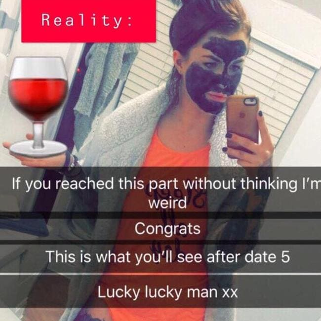 Natalie also shared this pic to show lads what they'd be in for by the fifth date.