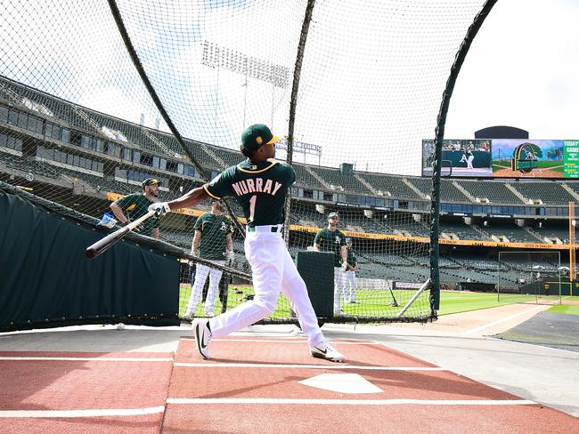Kyler Murray visited the A's after he was drafted in June.