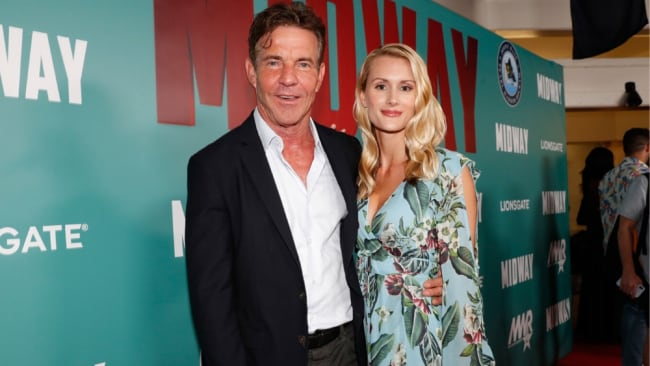 65yo Dennis Quaid with 26yo Laura Savoie. Image: Getty