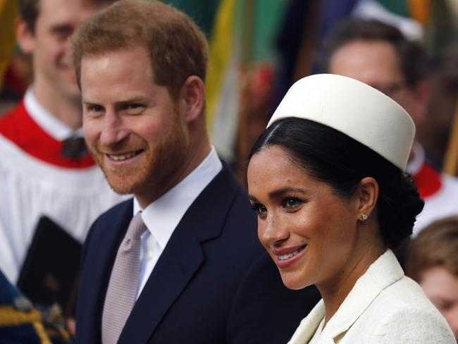 Meghan and Harry were all smiles at the service. Picture: Frank Augstein/AP