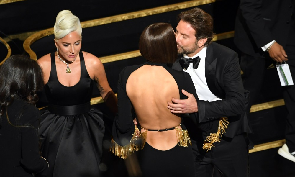 HOLLYWOOD, CALIFORNIA - FEBRUARY 24: (L-R) Lady Gaga, Irina Shayk and Bradley Cooper during the 91st Annual Academy Awards at Dolby Theatre on February 24, 2019 in Hollywood, California. Kevin Winter/Getty Images/AFP == FOR NEWSPAPERS, INTERNET, TELCOS & TELEVISION USE ONLY ==