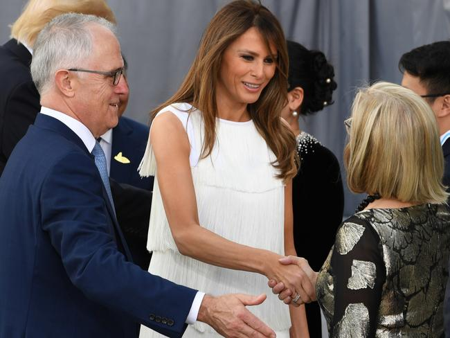 Prime Minister Turnbull and his wife Lucy greet US First Lady Melania Trump after a family photo at 'Elbphilharmonie' during the G20 summit in Hamburg. Picture: AAP