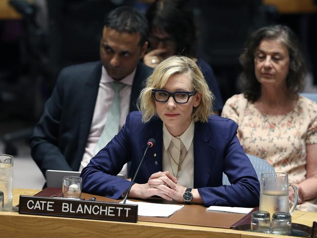 Cate Blanchett, a UNHRC Goodwill Ambassador, waits to speak on the Rohingya refugee crisis at the United Nations Headquarters, August 28, 2018. Pic: Anthony Behar/Sipa USA