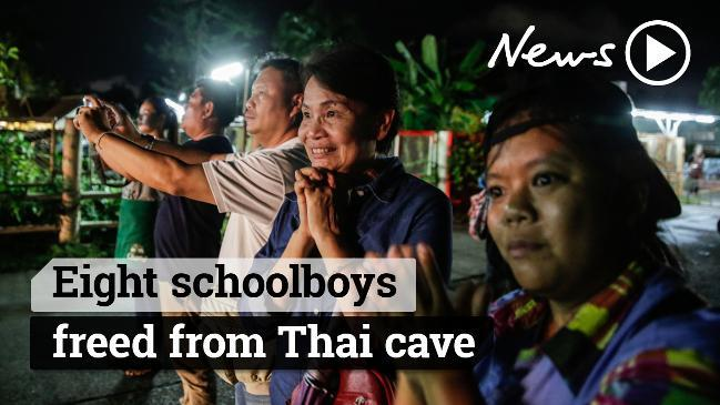 Eight schoolboys freed from Thai cave