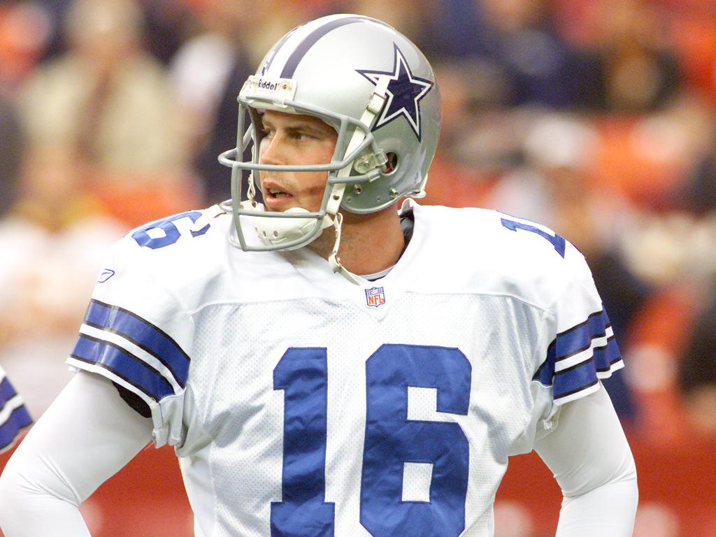 2 Dec 2001: Quarterback Ryan Leaf #16 of the Dallas Cowboys warms up before the game against the Washington Redskins at Fed-Ex Field in Landover, Maryland. The Cowboys defeated the Redskins with a final score of 20-14. Digital Image. Mandatory Credit: Jamie Squire/ALLSPORT