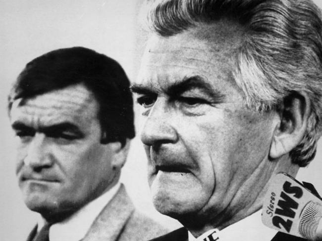 Barrie Cassidy (left) as Bob Hawke's press secretary in 1988. Picture: MARS