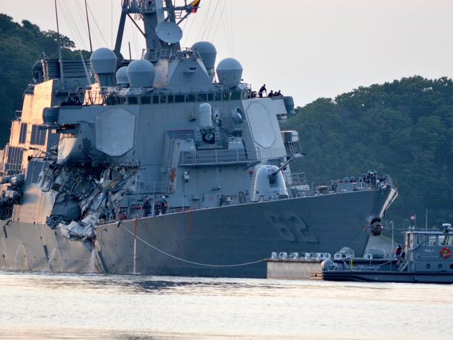 The Arleigh Burke-class guided-missile destroyer USS Fitzgerald (DDG 62) returns to Yokosuka. Picture: USN