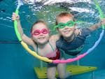 Machenzie and Lachlan at St Marys Aquatic Centre. Picture: Puddle Pics