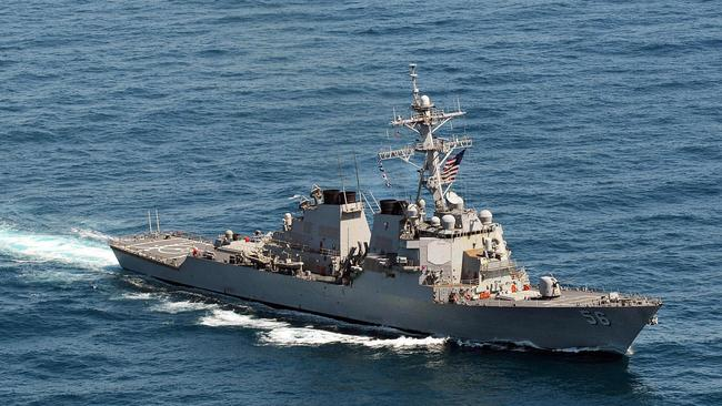 """This US Navy file photo taken on March 21, 2013 shows the Arleigh Burke-class guided-missile destroyer USS John S. McCain (DDG 56) sailing in the waters off the Korean Peninsula. The US has repeatedly sailed close to artificial islands China has built up in the South China Sea, as part of a """"freedom of navigation"""" operations."""