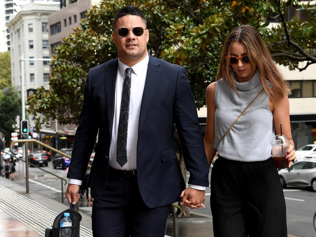 Jarryd Hayne is seen arriving at Downing Centre Courts, in Sydney. Picture: NCA NewsWire/Bianca De Marchi