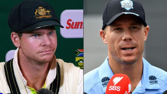 Steve Smith, David Warner and Cameron Bancroft will all have to serve their full bans for ball tampering, Cricket Australia ruled on November 20. Picture: Saeed Khan/STR/AFP