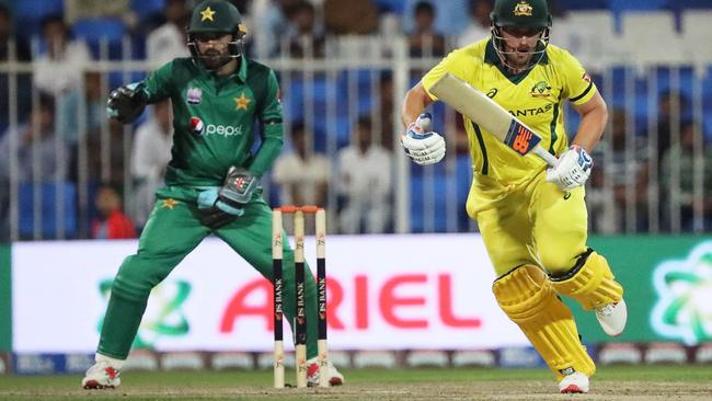 Aaron Finch scored his first ODI ton in nine months to lead Australia to victory. Picture: AFP