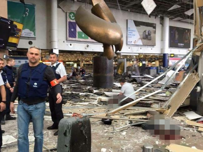 Inside the airport building following the two explosions.
