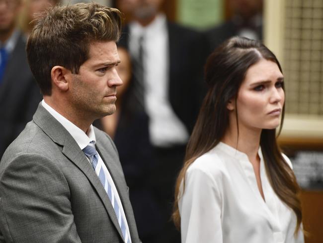 Dr Grant Robicheaux, sits with girlfriend Cerissa Riley in a Californian court. Picture: Paul Bersebach/The Orange County Register via AP