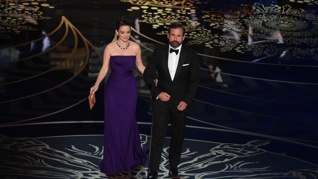 Tina Fey and Steve Carell present at the 88th Oscars.