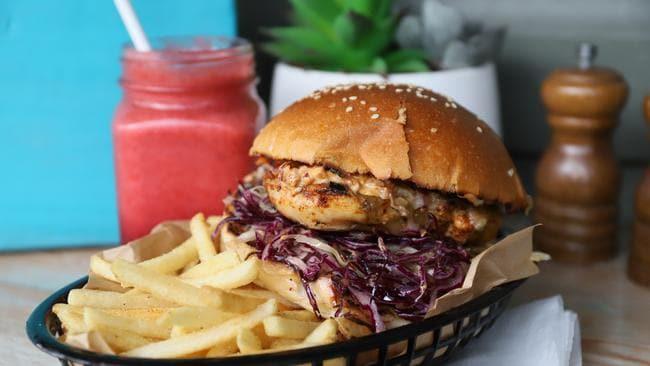 Hmmmm, chicken burger. Picture: Jenifer Jagielski.