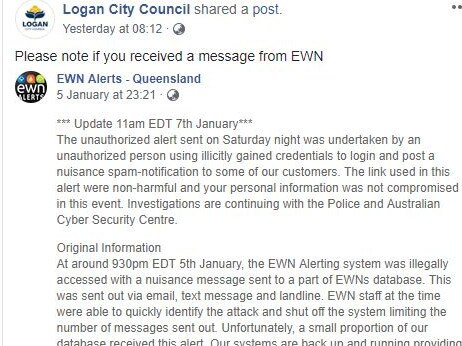 Logan City Council's post on Facebook warning residents that the messages were part of a hacking attack on the EWN.