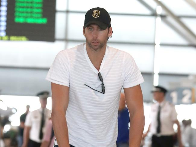 Grant Hackett at Brisbane Airport before leaving for treatment overseas. Picture: Pics Diimex