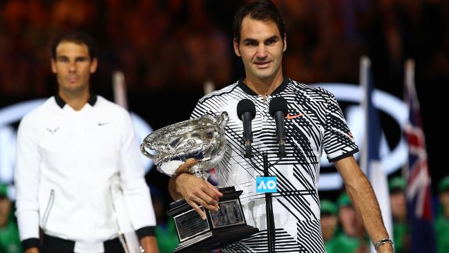 """I hope to see you next year"", Roger Federer sent the crowd into panic as he hinted at his retirement following his Aus Open final win over Rafael Nadal. Picture: Getty Images"