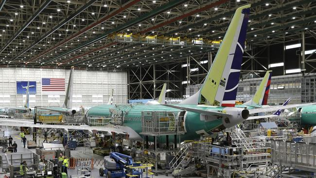 A Boeing 737 MAX 8 on the assembly line at Boeing's 737 assembly facility in Renton, Washington. Picture: AP/Ted S. Warren, File