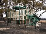 Remains of the playground at the community sports club on Kangaroo Island. Picture: Matt Loxton