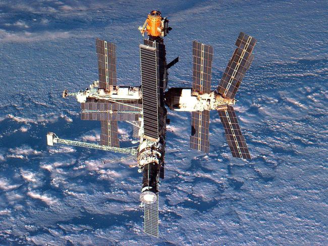 A 1996 photo shows the Russian Mir space station orbiting the earth.