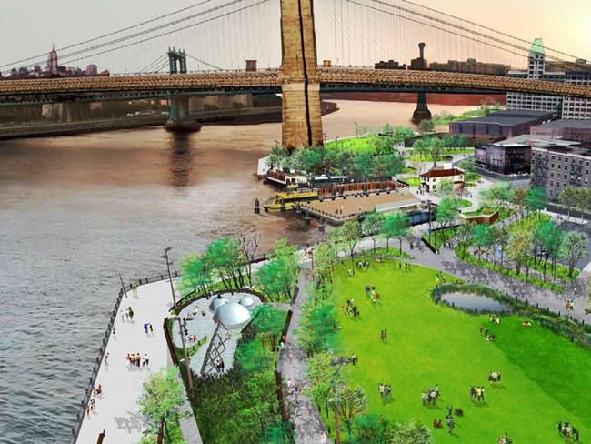 The artists impression of the park featuring three metal domes. Picture: Design Trust for Public Space.