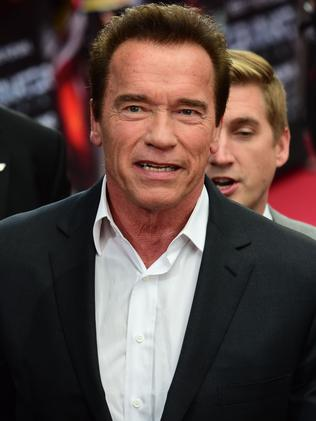 "Arnold Schwarzenegger at the European premiere of the film ""Terminator Genisys"" on June 21, 2015."