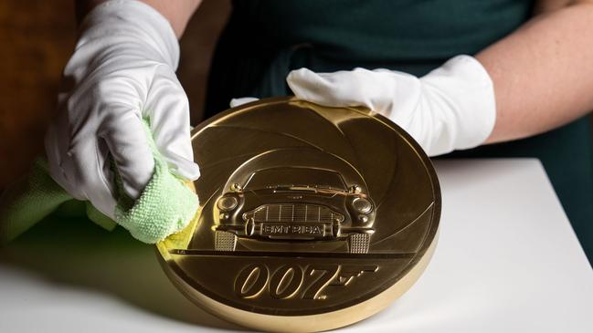 The piece was created using engraving machines before being hand-polished. (Photo by – / Royal Mint / AFP)
