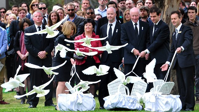 Jill Meagher's family release doves after the funeral service at Fawkner Memorial Park. Picture: Nicole Garmston