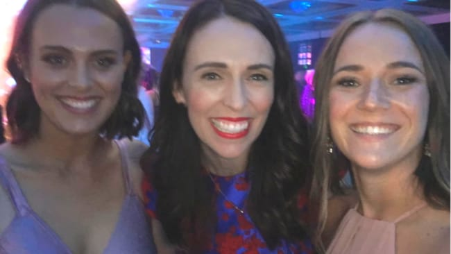 Jazz and Genevieve Mora, her partner at Voices of Hope, with NZ Prime Minister Jacinda Ardern