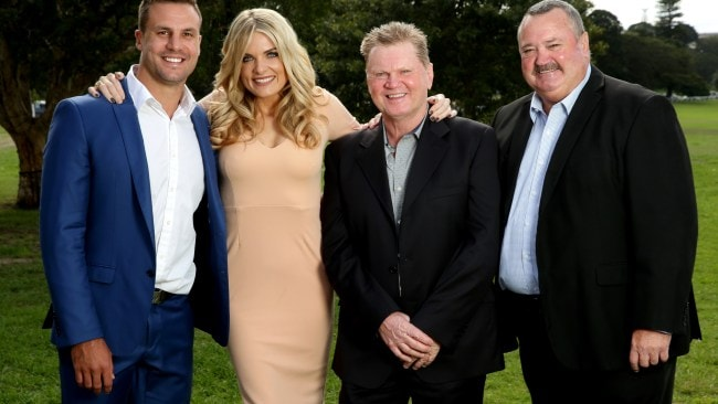 The Channel Nine Footy Show crew Beau Ryan, Erin Molan, Paul Vautin and Daryl Brohman. Picture : Gregg Porteous