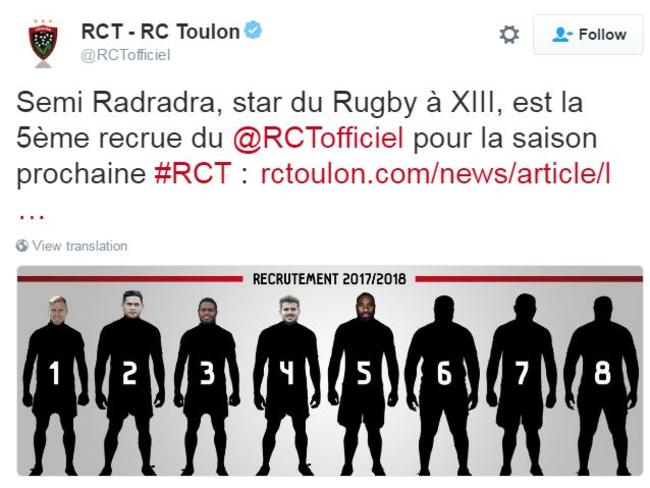 Toulon's Twitter account announcing the signing of Semi Radradra.