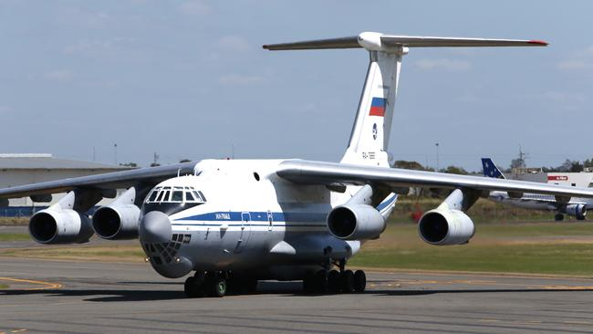 Russian President Vladimir Putin travels in a nice aircraft than this, but this Russian-built Ilyushin Il-76 jetted into Brisbane carrying his official motorcade. The aicraft type is used by many nations as a heavy transporter but has been involved in numerous fatal crashes, the most recent in 2012 in Congo killing 32 onboard and 26 on the ground. Picture: Peter Wallis