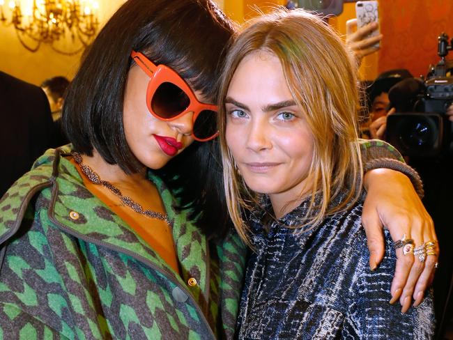 Rihanna and model Cara Delevingne have been friends long before they starred in Valerian together. Picture: Bertrand Rindoff Petroff/Getty Images