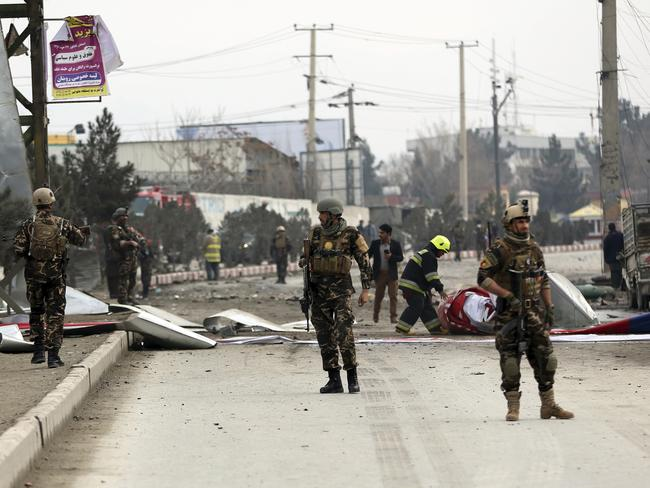 """The suicide bombing was said to be an attack against """"foreign forces"""". Picture: AP Photo/Massoud Hossaini"""