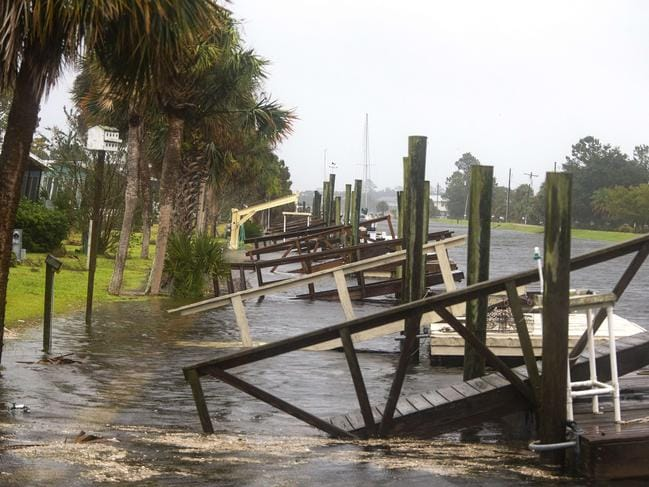 The storm surge from Hurricane Michael pushes into streets and homes in Shell Point Beach, Florida. Picture: Mark Wallheiser/Getty Images