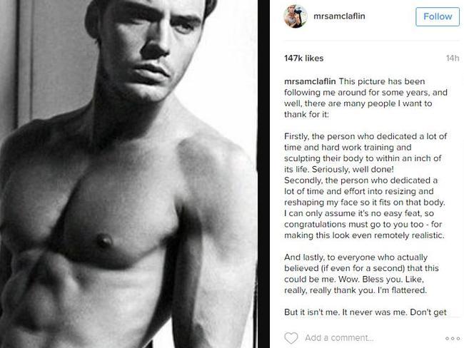 Claflin's Instagram post.