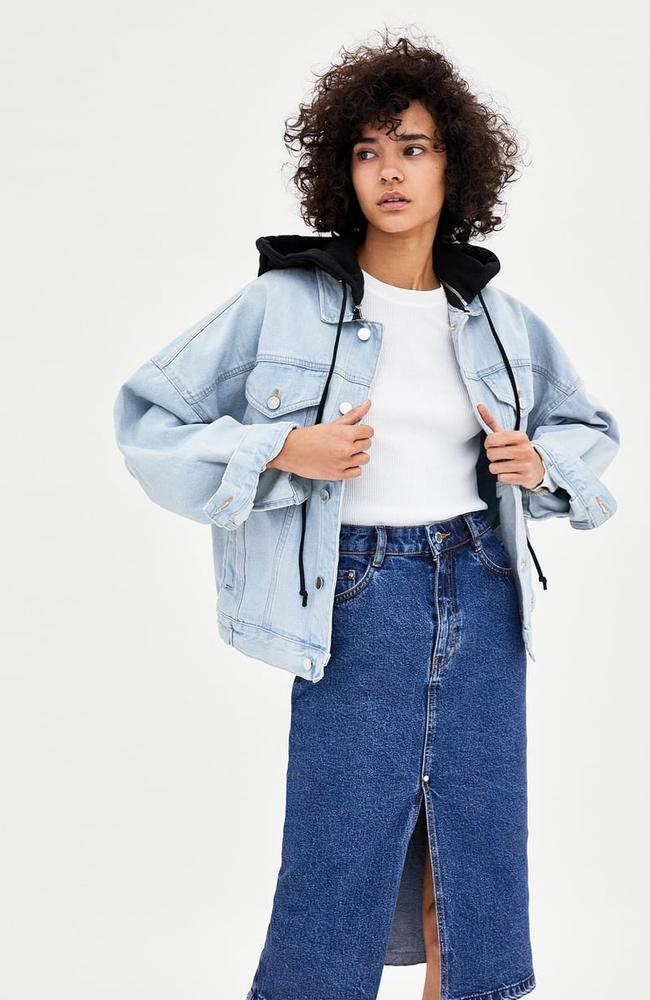 Hooded denim jacket, $99.