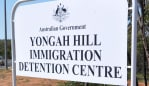 The entrance to Yongah Hill Immigration Detention Centre where activists called for an end to mandatory imprisonment, Northam, Western Australia. Picture: Rebecca Le May/AAP