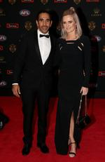 Eddie Betts of Adelaide and Anna Scullie arrive at the 2016 Brownlow Medal Count.