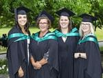 Chloe Berwick, Kelly White, Laura Stagg and Tracy Badman at the UTAS Graduation at Launceston. PICTURE CHRIS KIDD
