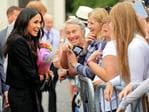 Britain's Meghan, Duchess of Sussex greets well-wishers after her visit with Britain's Prince Harry, Duke of Sussex to Trinity College in Dublin on the final day of their two day visit on July 11, 2018. Picture: AFP PHOTO / POOL / Gerry Mooney