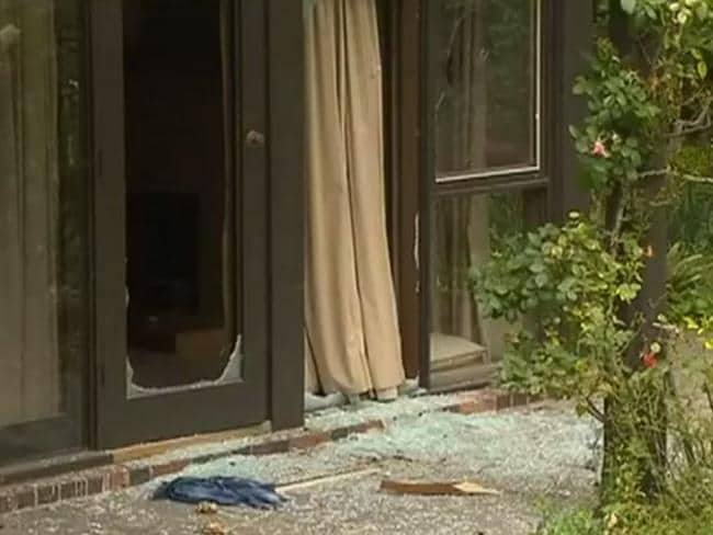 Glass smashed on the property. Picture: 7 News