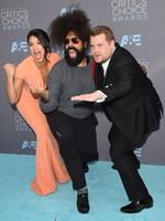 Gina Rodriguez, Reggie Watts and James Corden attend the 21st Annual Critics' Choice Awards on January 17, 2016 in California. Picture: AFP